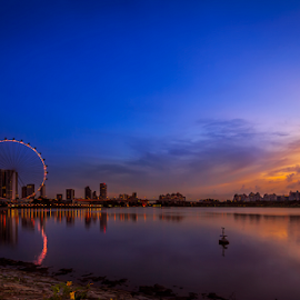 Good Morning Singapore.. by Photographyof Jack Jack - City,  Street & Park  Skylines ( blue sky, dawn, singapore flyer, cityscape, singapore )