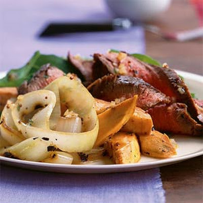 Grilled Onion, Beef, and Sweet Potato Salad
