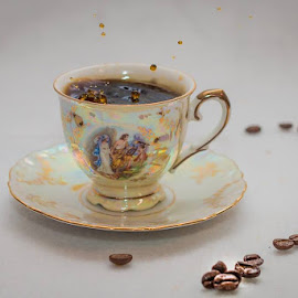 Coffee and beans by Annette Nordlinder - Food & Drink Alcohol & Drinks ( coffee beans, porcelain, coffee, beads )