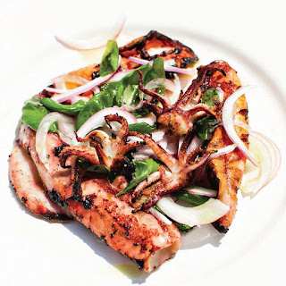 Grilled Calamari with Red Onion and Basil