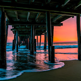 Nags head pier sunrise by Stacy Abbott - Buildings & Architecture Bridges & Suspended Structures ( reflection, nc, pier, ocean, sunrise, beach, nags head )