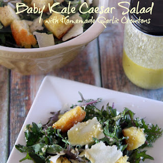 Baby Kale Caesar Salad with Homemade Garlic Croutons
