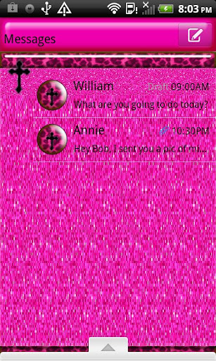 GO SMS THEME PinkLeopardCross
