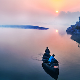 Fishing boat by Samir Ray - Transportation Boats ( mystic, sunrise, men, boat, river )