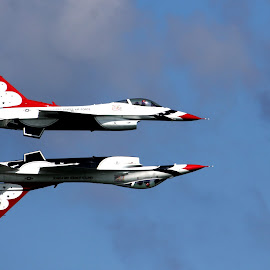 Thunderbirds Belly to Belly by Luis Wicho Rodriguez - Transportation Airplanes