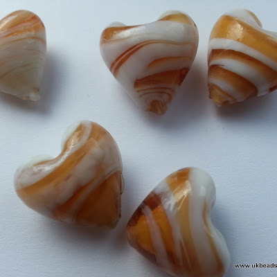 Lampwork Heart Beads In Caramel and White  x10