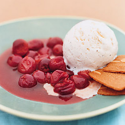 Warm Skillet Sour Cherries with Vanilla Ice Cream