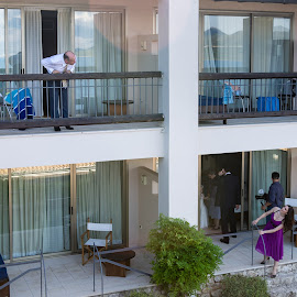 Preperation by Yiannis Vourvou - Wedding Getting Ready ( speaking, people, balcony )
