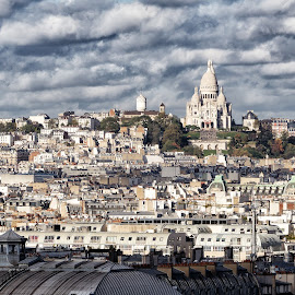 View of Sacré-Cœur by Michael Wiejowski - City,  Street & Park  Skylines ( paris, europe, notre dame, sacre coeur, montmartre, france, cityscape, travel )