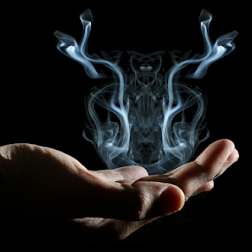Smoke in my Hand by Fahad Iqbal - Abstract Patterns ( hand, isolated, creative, artistic, smoke,  )