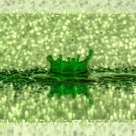 Drop of Green by Fahad Iqbal - Abstract Water Drops & Splashes ( canon, reflection, creative, splash, high speed photography, droplet, drop, green, bokeh )