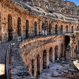 Coloseum by Greg Brzezicki - Buildings & Architecture Public & Historical ( sand, coloseum, building, tunisia, people,  )