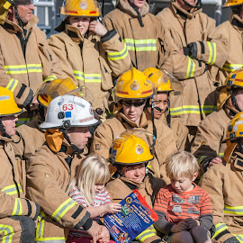 Fire fighters are also parents by Vibeke Friis - People Group/Corporate ( parents, fire fighters, children, group,  )