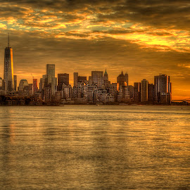 Liberty State Park (2) by Gary Aidekman - Landscapes Sunsets & Sunrises ( skyline, new york skyline, liberty tower, new york city, sunrise, wall steet )