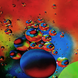 Party Time by Carole Pallier Cazzazsnapz - Abstract Macro ( water, abstract, macro, drops, material, colours, oil )