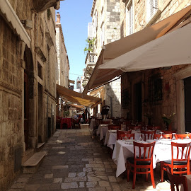 Back Street Restaurant Dubrovnik by Dawn Simpson - City,  Street & Park  Markets & Shops
