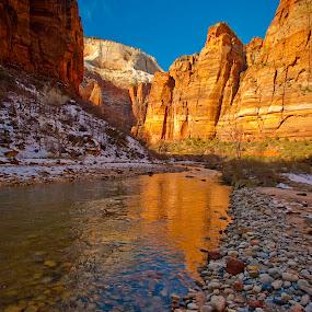 Zion Big Bend by Patrick Flood - Landscapes Mountains & Hills ( canon, big bend, national park, reflection, photosbyflood, winter, utah, virgin river, snow, red rocks, zion )