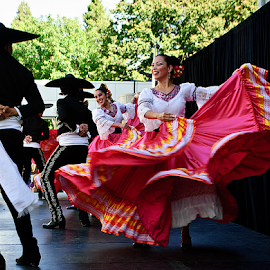 Fiesta! by Kati Garner - People Musicians & Entertainers ( skirt, dancing, red, spanish, dancers )