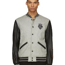 Diesel Grey Leather And Wool L_petro Varsity Jacket