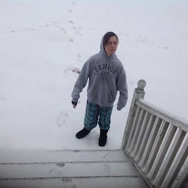 Granddaughter standing in snow by Terry Linton - Landscapes Weather (  )