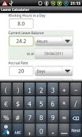 Screenshot of Leave Calculator