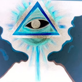 all seeing eye by Noele Hachach - Drawing All Drawing ( abstract, clouds, triangle, cross, eye )