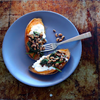 Black-eyed Pea topped Sweet Potatoes - one pot meal