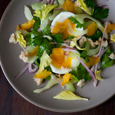 Celery Salad with Soft Boiled Egg and Shaved Bottarga