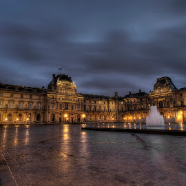 Louvre Night 2 by Ben Hodges - City,  Street & Park  Night ( paris ·     louvre ·     statue ·     old ·     hdr ·     pyramid ·     fountain ·     france ·     historical ·     public ·     rain · night, long exposure )