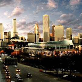Soldier Field by Tricia Scott - City,  Street & Park  Skylines ( field, skyline, traffic, sky, soldier field, football, stadium, streets, chicago, city )