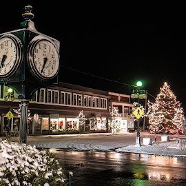 Harbor Springs Christmas by Dave Harrell - City,  Street & Park  Historic Districts ( city clock, christmas lights, christmas, downtown, harbor springs, mood, mood factory, holiday, hanukkah, red, green, lights, artifical, lighting, colors, Kwanzaa, blue, black, celebrate, tis the season, festive,  )
