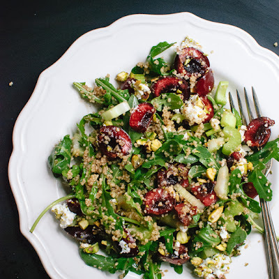 Cherry Couscous & Arugula Salad with Balsamic Vinaigrette (plus a giveaway!)