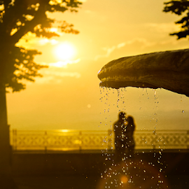 Love is in the air by Andrei Grososiu - City,  Street & Park  Street Scenes ( kiss, water drops, lovers, sunset, fountain )