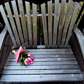 by Dipali S - Artistic Objects Furniture ( valentine's day, bouquet, bench, flora, farmland, cut flowers, love, rose, arrangement, nature, rosa, fresh, pink, bud, mother's day, flower, public, furniture, object )