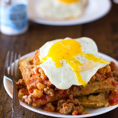 Chili and Cornbread Waffle Stacks