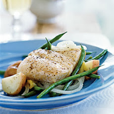 Halibut en Papillote with Potatoes, Green Beans, and Sweet Onions