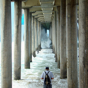 by Liz Rosas - Landscapes Waterscapes ( huntington beach pier, under pier, crashing waves, waves, huntington beach )