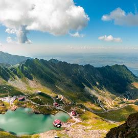 Romania by Adam Freundlich - Landscapes Mountains & Hills ( balea lake, clouds, moihntains, mountain, highway, romania, lake, road, panorama, sun, transfagarasan, sky, nature, sunny, cloud )