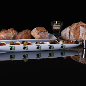 Afternoon snack by Keith Reling - Food & Drink Plated Food ( reflection, bread, snack, olives, Food & Beverage, meal, Eat & Drink,  )