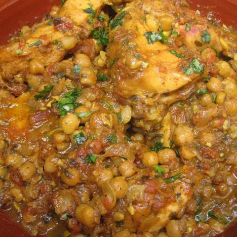 Moroccan Chicken Tagine with Chickpeas and Raisins
