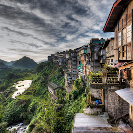 Outside View by Zab Coloma - Buildings & Architecture Homes ( clouds, mountain province, wooden house, rice terraces, banaue, philippines )