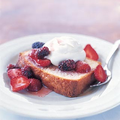 Lemon Pound Cake with Berries and Whipped Cream
