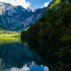 Obersee by Stuart Byles - Landscapes Mountains & Hills ( mountains, reflection, obersee, bavaria, trees., lake, berchtesgaden, alps,  )