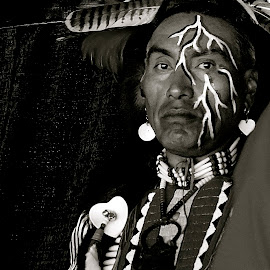 American Indian  by Barbara Brock - People Portraits of Men ( american indian, american indian in outfit, american indian man in black and white, native american )
