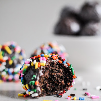 Glazed and Sprinkled Chocolate Cake Donut Holes