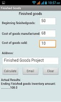 Screenshot of Finished Goods Calculator