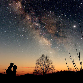 The Kiss by Paul Mays - People Couples ( quantummist, sky, stars, couple, night, romance, , Love is in the Air, Challenge, photo, silhouette )