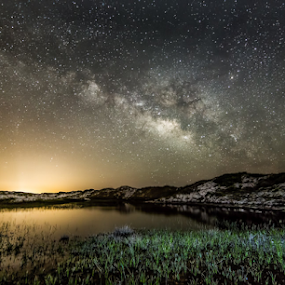 Sand Dune Surprise by Andy Taber - Landscapes Starscapes ( reflection, stars, astrophotography, lake, milky way, galaxy,  )