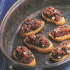 Roasted Red Pepper And Ripe Olive Crostini