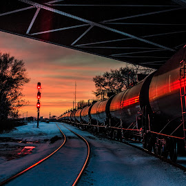 Infinity by Aaron Trice - Transportation Trains ( gas, locamotive, sunset, beautiful, black )